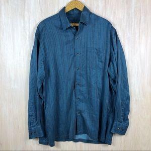 Tommy Bahama Blue Button Down Silk Shirt XL